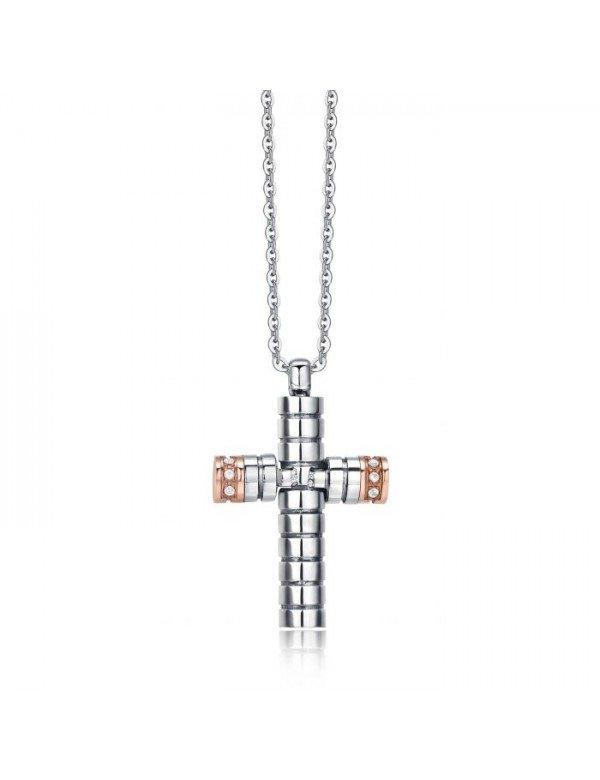 f3f2beb119 LUCA ca383 cross BAR NECKLACE - Onyx Gioielli