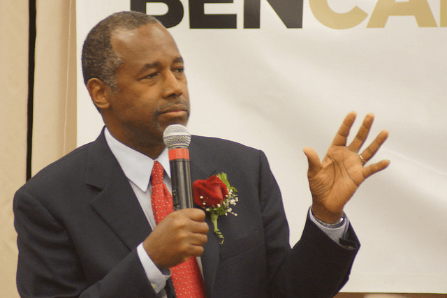 Ben Carson speaking at a primary