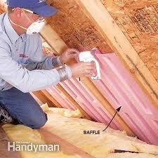 Baffles in soffit in attic