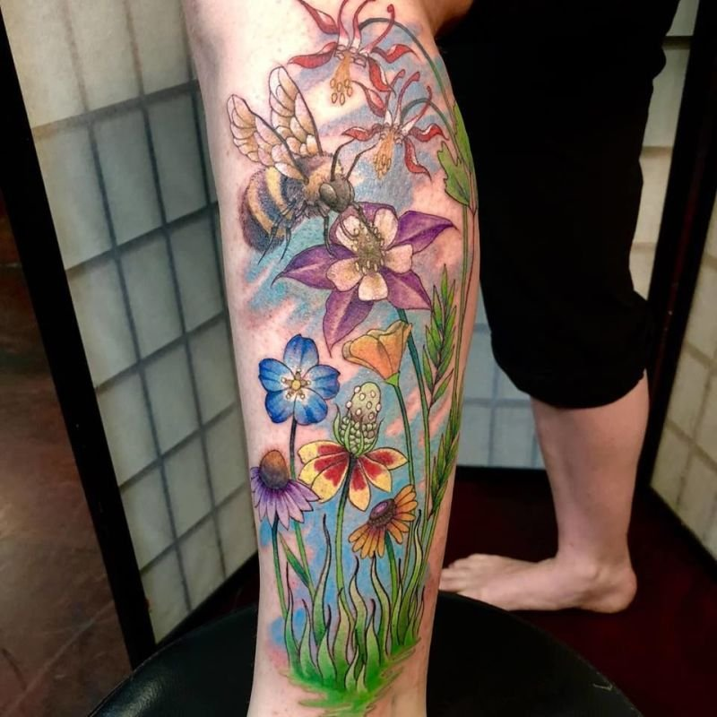 Wildflowers and Bee Tattoo