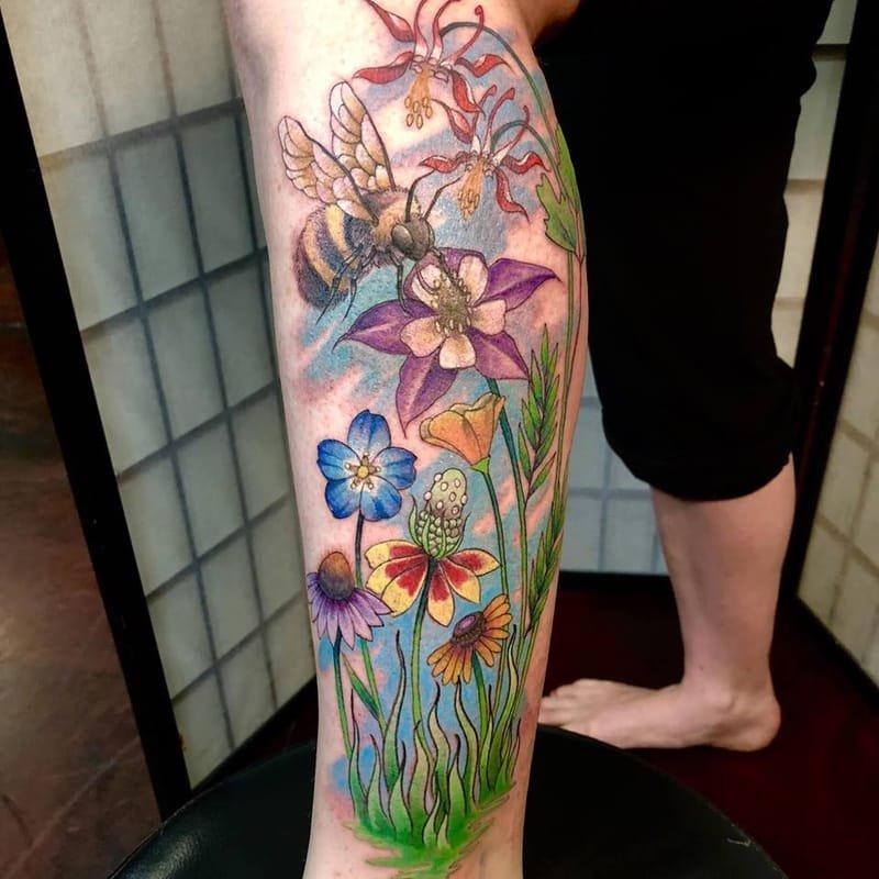 Wildflowers and Bee Tattoo