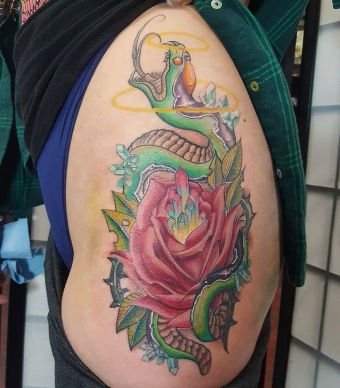 Cybertradtional Snake and Rose tattoo