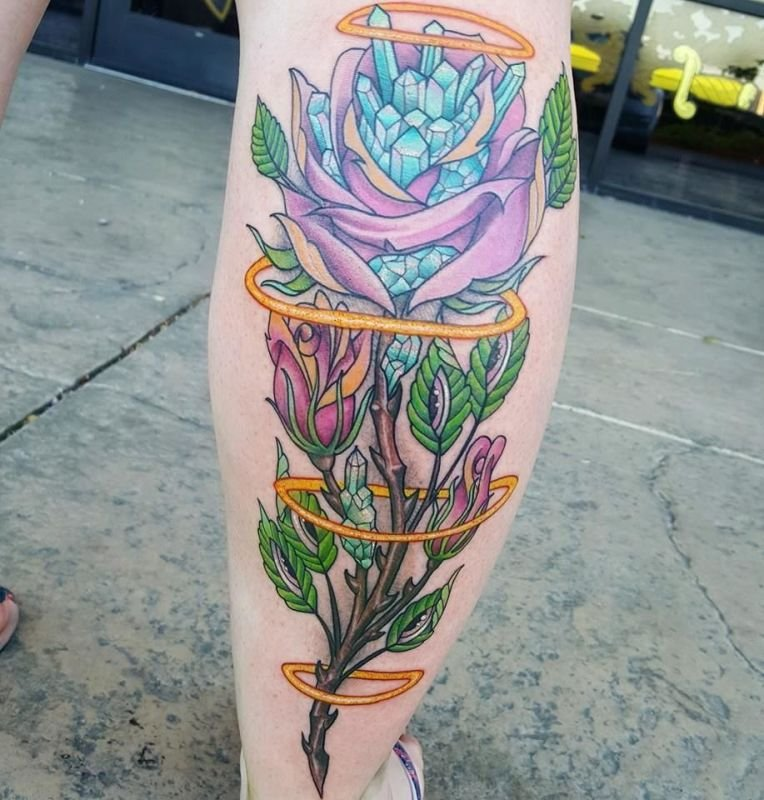 Cybertraditional Stemmed Rose tattoo