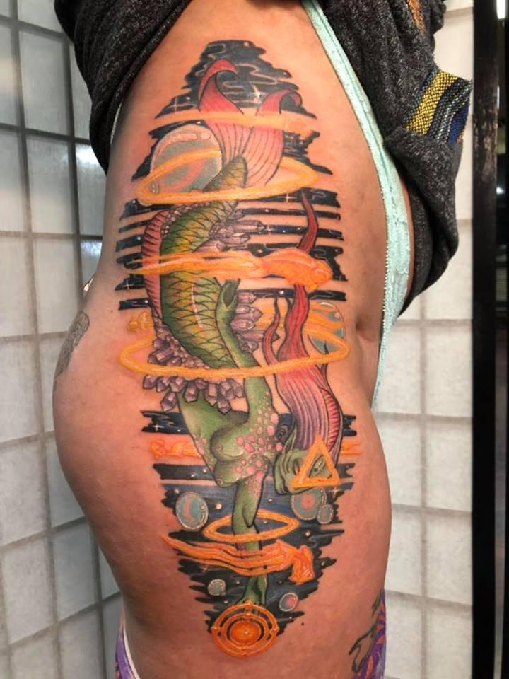 Cybertraditional Mermaid Alien Tattoo (Mermalien)