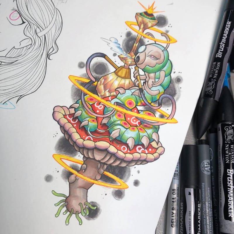 Cybertraditional  Caterpillar Tattoo design