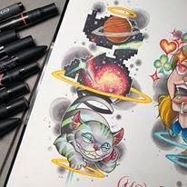 Cheshire Cat tattoo Design