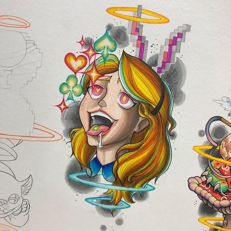 Alice On Acid Tattoo Design