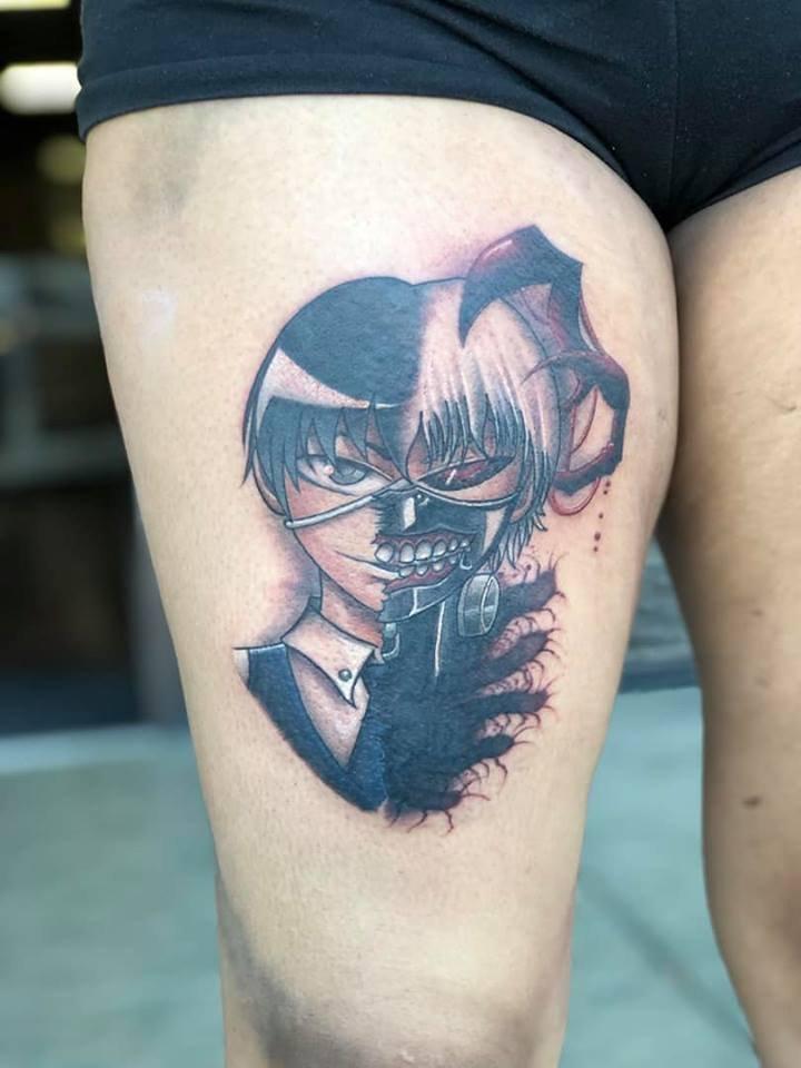 Kaneki Split Face Tattoo
