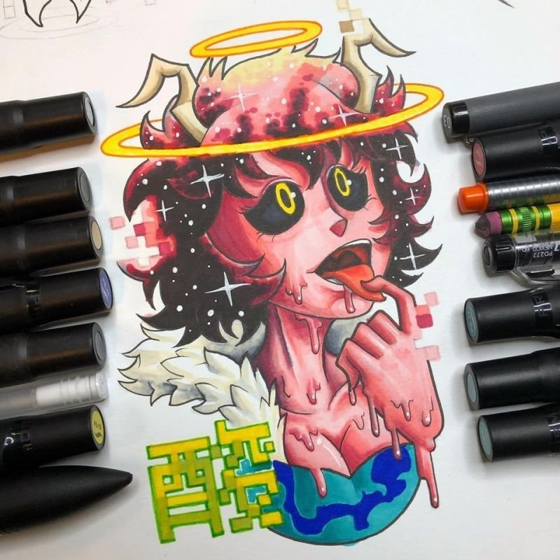 Ashido Tattoo Flash