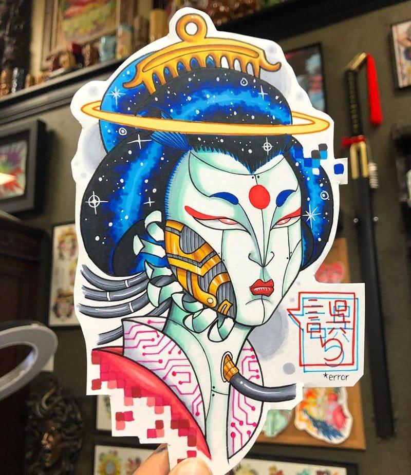 Robo-Geisha tattoo design