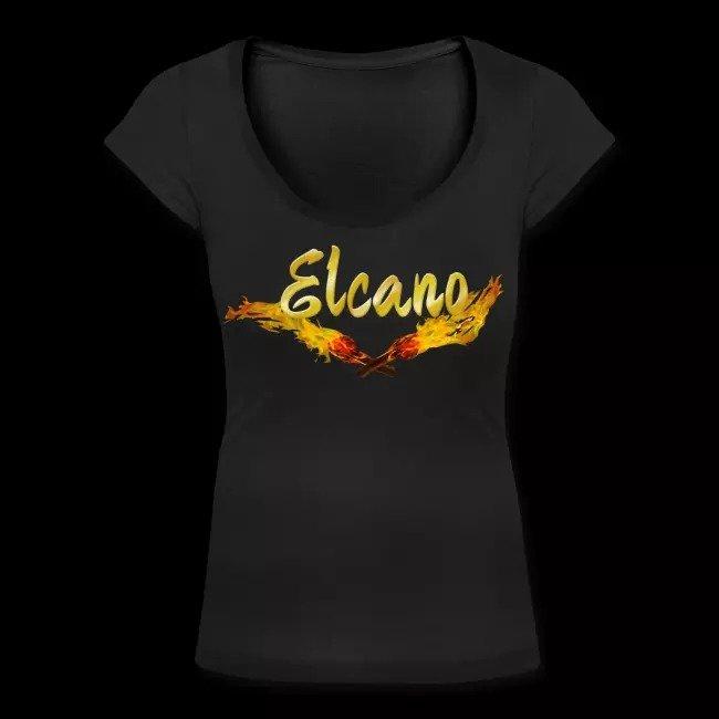 new concept a6887 761f3 Frauen T-Shirt mit U-Ausschnitt - Schriftzug mit Fackel - Elcano