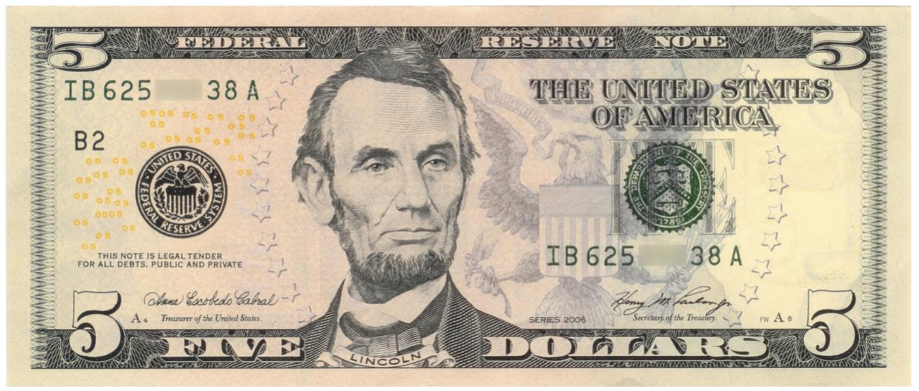 $5 Dollar Biljet