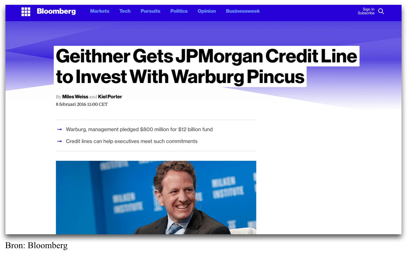Geithner krijgt miljarden krediet van JP Morgan Chase