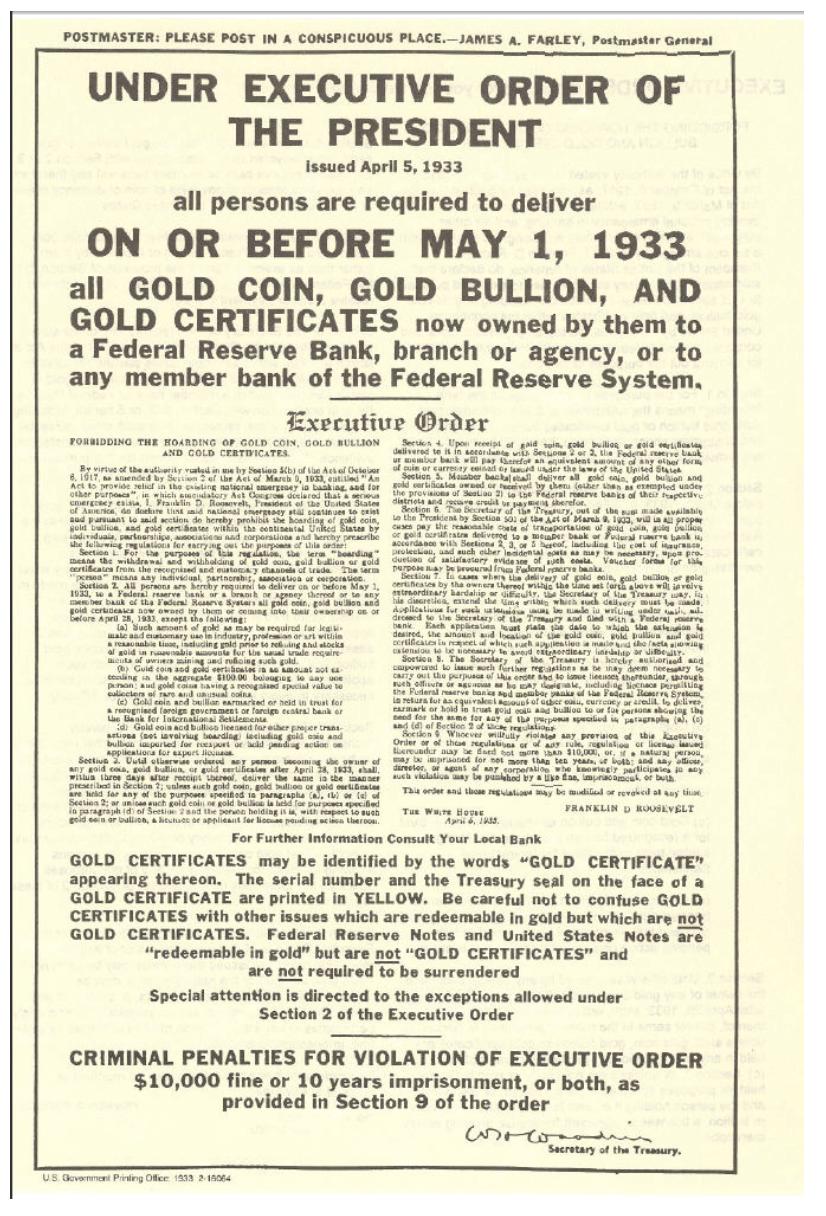 Presidentiële goud confiscatie President Roosevelt