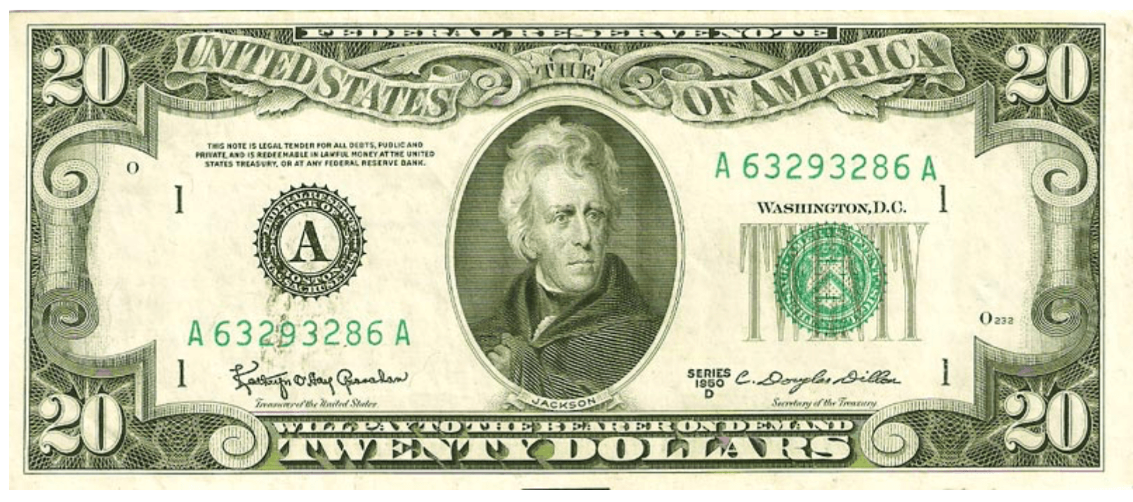 20 Dollar Federal Reserve Note