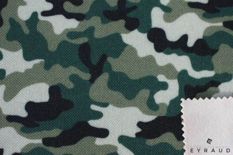 Military printing with IR treatment on military fabric