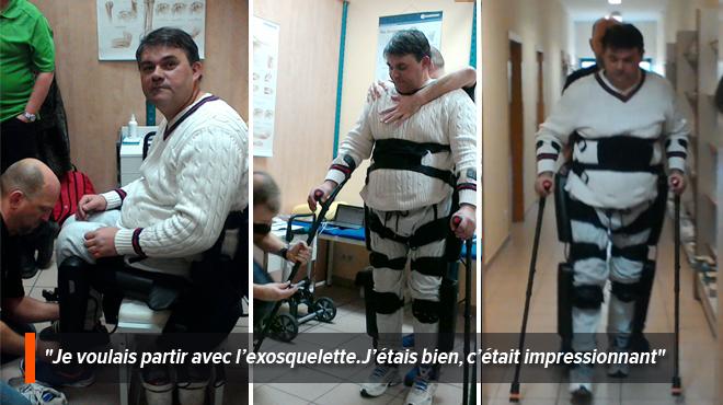 Gaël, paraplégique, remarche grâce à un exosquelette:
