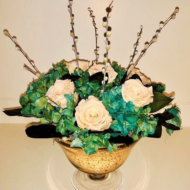 119 Large Gold Mercury Glass Hydrangea and Roses