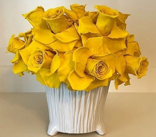121 Yellow Open Roses white vase