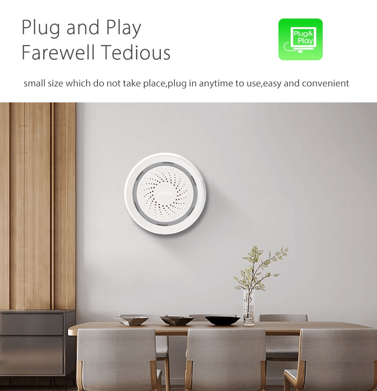 Smart Home Tuya App Wireless WiFi Alarm Siren Works with Sensors