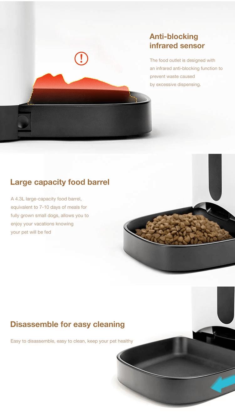 APP control pet auto feeder 4.3L automatic dog food feeder support time setting