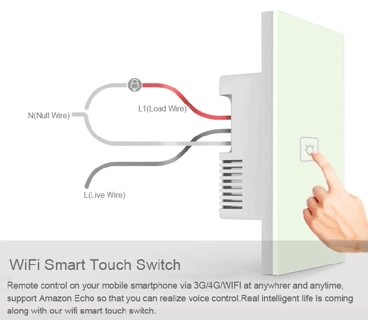 AU/US Standard 3 gang 1 way wifi power switch for lighting smart home