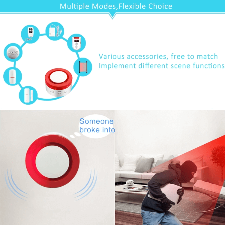 Tuya Wireless WIFI Remote Control 120db Smart Home Siren Alarm System for Smoke and Gas Detectors