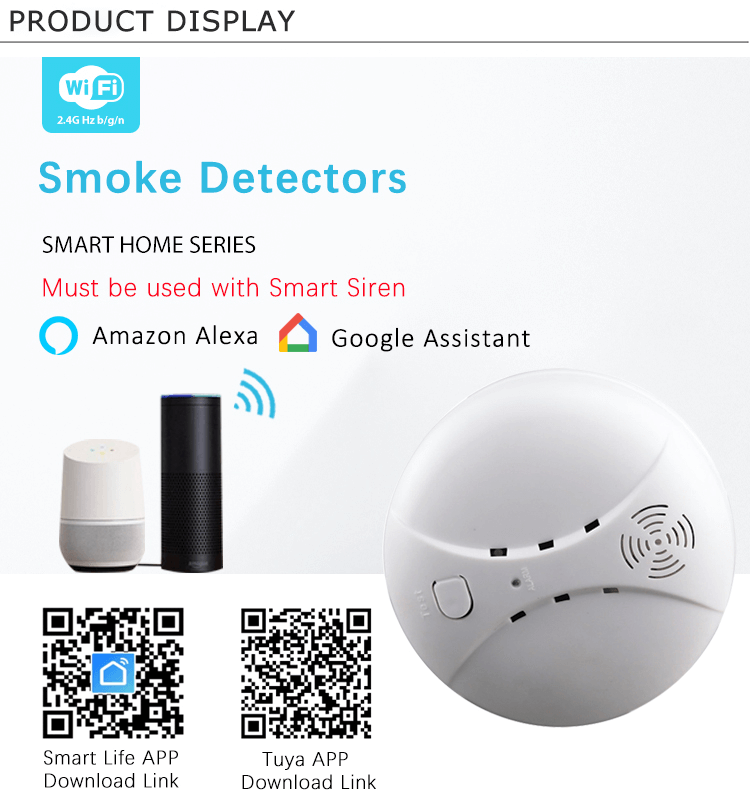 Mini Wireless Smoke Detector for Tuya Smart Home Siren Alarm System Supports 315MHZ or 433MHZ