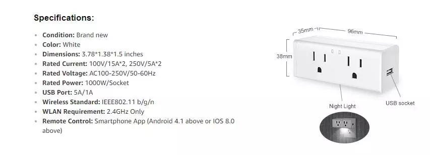 WIFI Smart Wall Plug Alexa Voice Contorlled Tuya APP Remote Control Wall Outlet Tuya Smart WIFI Socket