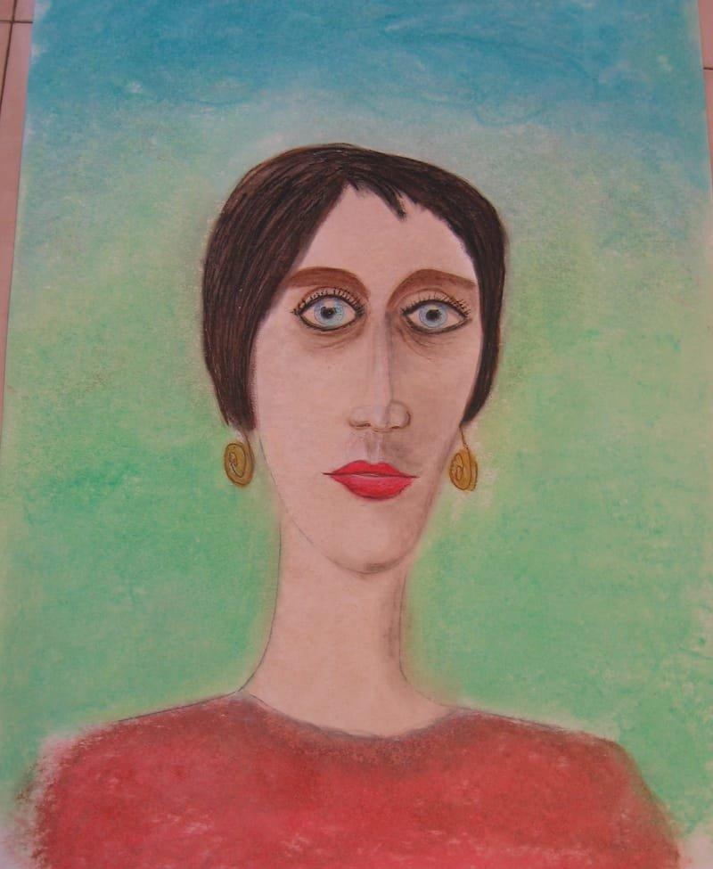 ציור אישה|שם: אישה עם עניים כחולות  - WOMAN WITH SHINY EYES