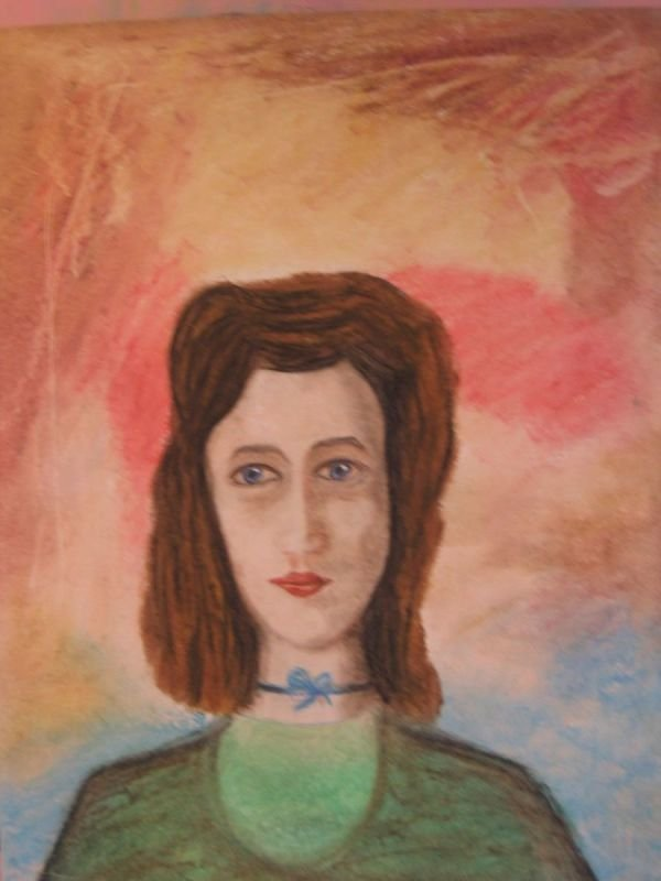 OIL PASTEL PAINTING - A WOMAN |   שם: דיוקן אישה