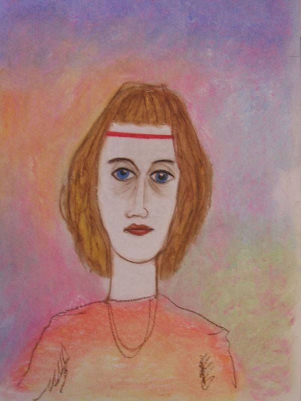 OIL PASTEL PAINTING - WOMAN WITH BAND |   שם: אשה עם סרט