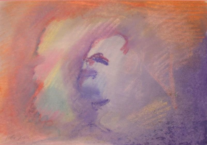 OIL PASTEL PAINTING - A GHOST |   שם: רוח רפאים