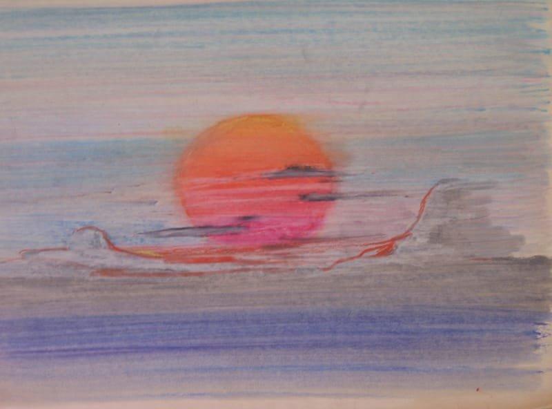 OIL PASTEL PAINTING - THE SUN |   שם: השמש