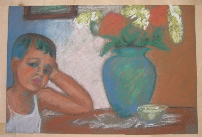 OIL PASTEL PAINTING - BOY AND FLOWER VASE  |   שם: נער ואגרטל פרחים