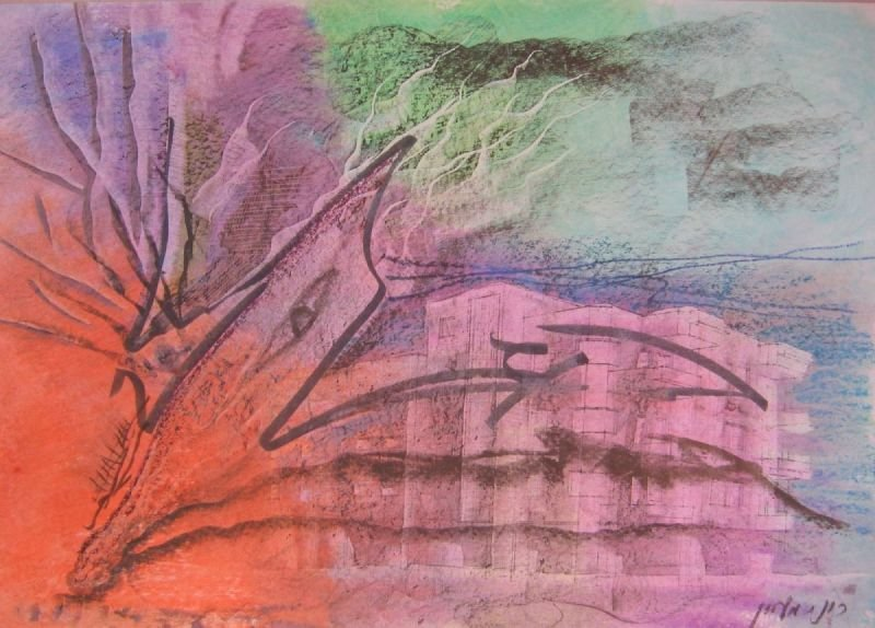 OIL PASTEL PAINTING = COMPOSITION  |   שם: קומפוזיציה