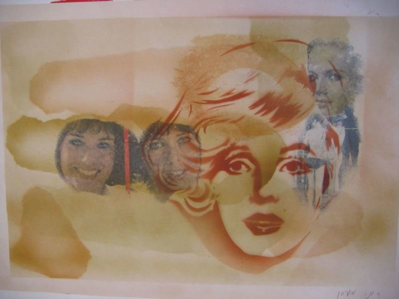 OIL PASTEL PAINTING - MARYLIN AND FRIENDS  |   שם: מרילין וחברים