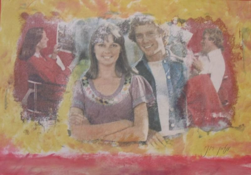 OIL PASTEL PAINTING - YOUNG COUPLE  |    שם: זוג צעיר