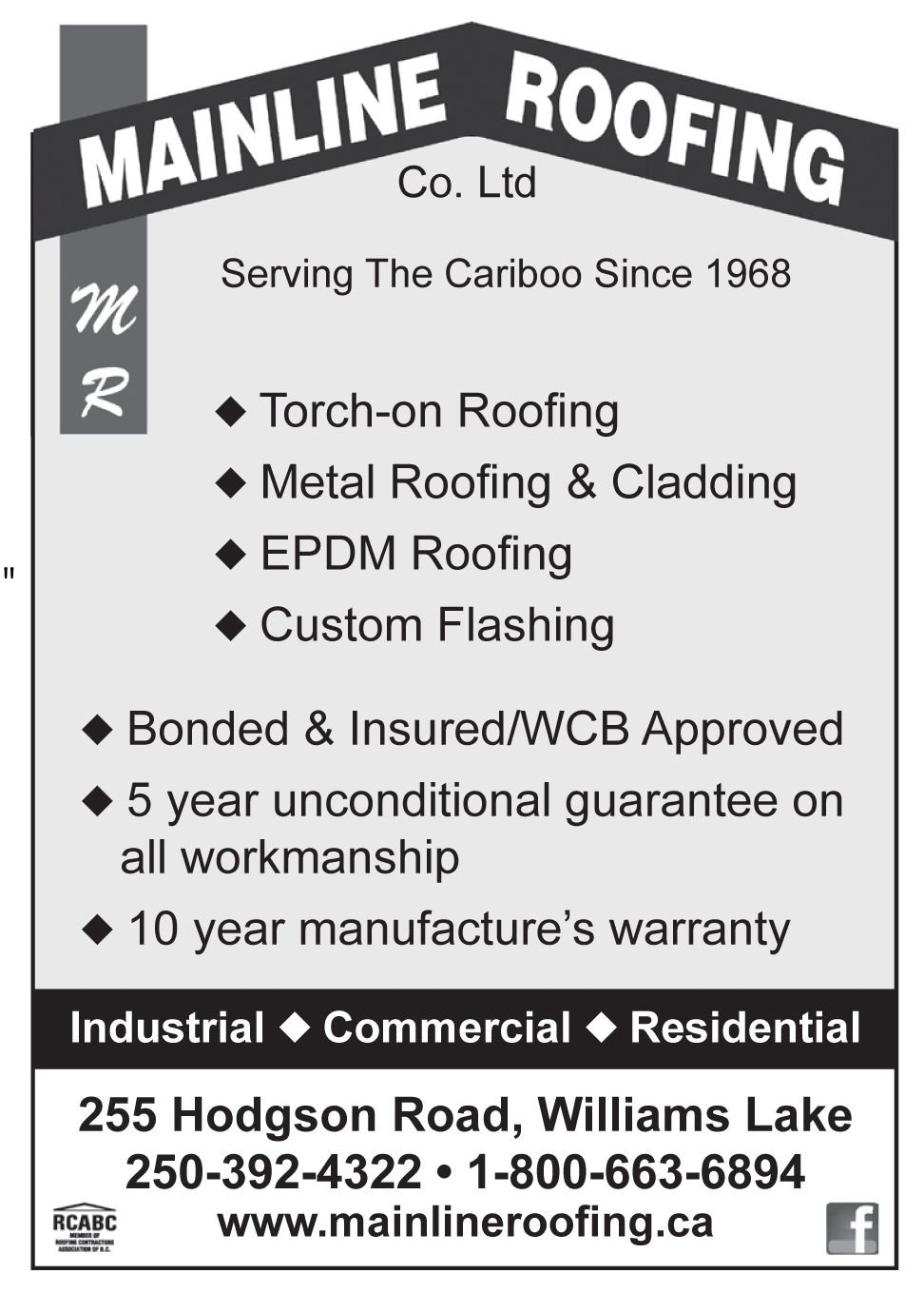 Please take a moment to visit our wonderful sponsors, Mainline Roofing Co.   Click here.