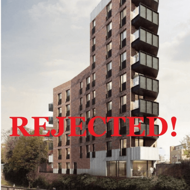 Original tower block proposed for Limehouse Triangle green space that Tower Hamlets has once again thrown out. Picture: LBTH