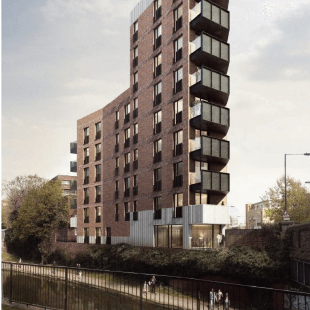 Original nine-storey block later reduced to eight that the council wants to build on biodiversity triangle site. Picture: LBTH