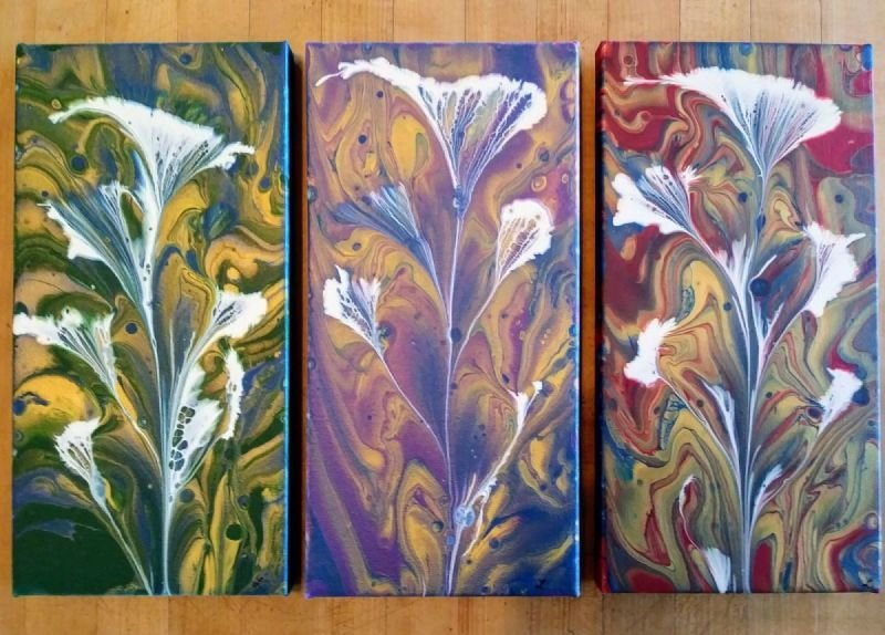 Pour Flowers in 3 color variations
