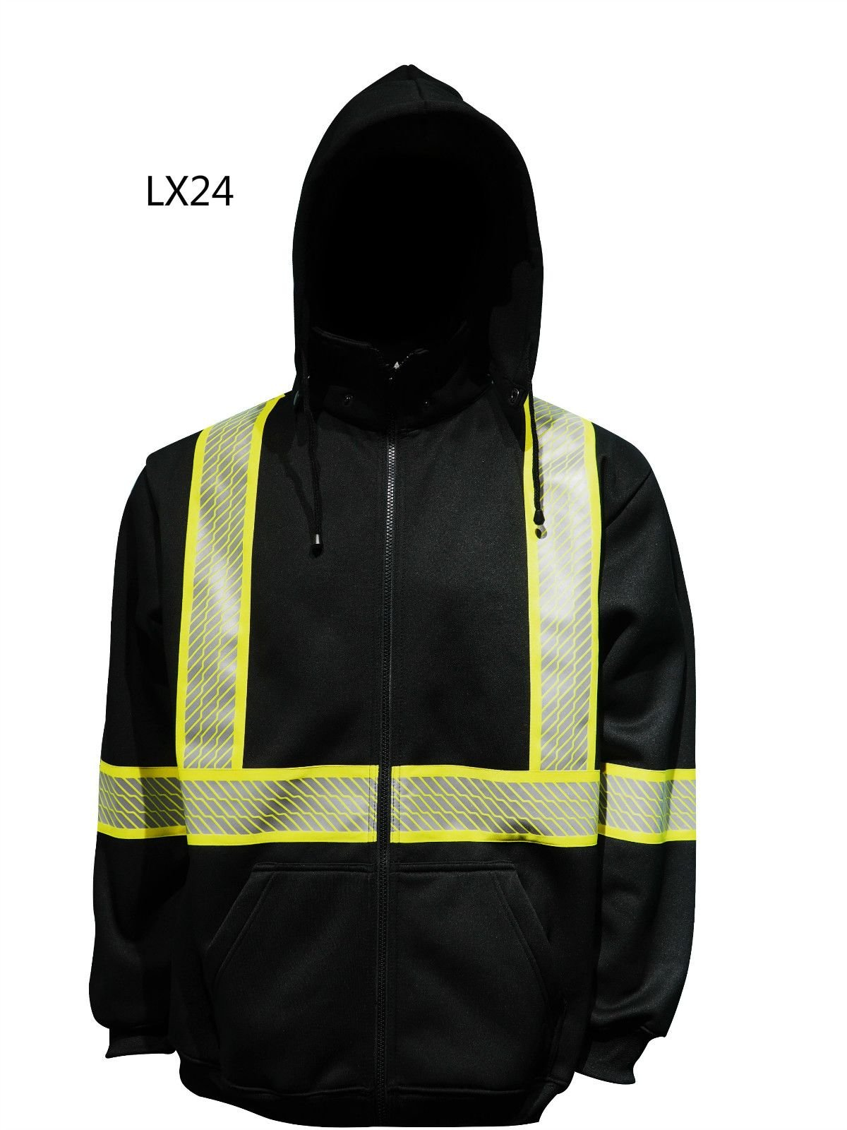 Mix-size Black HI-VIS Hooded Sweater SHIRTs Hoodie ZipFront Road Work HIGH VISIBILITY SIZE S-5XL