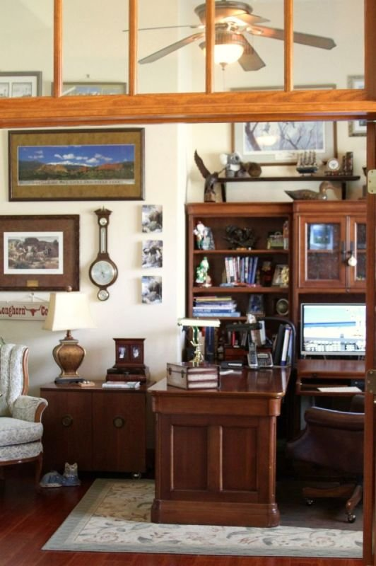 Office with world collectables