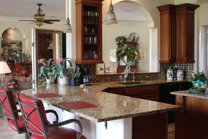 Granite kitchen counter.