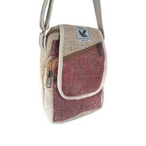 Half moon style hemp handbag