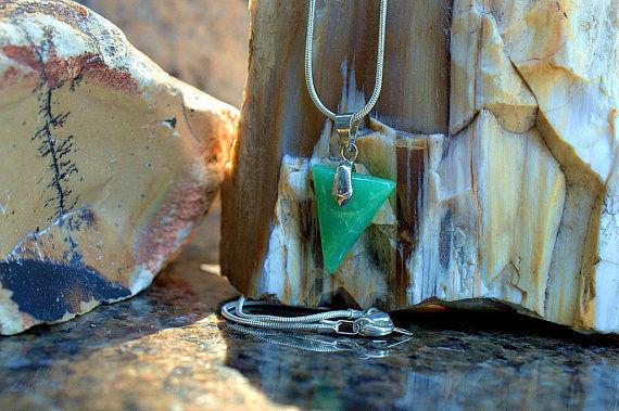 triangle shape green translucent gemstone pendant