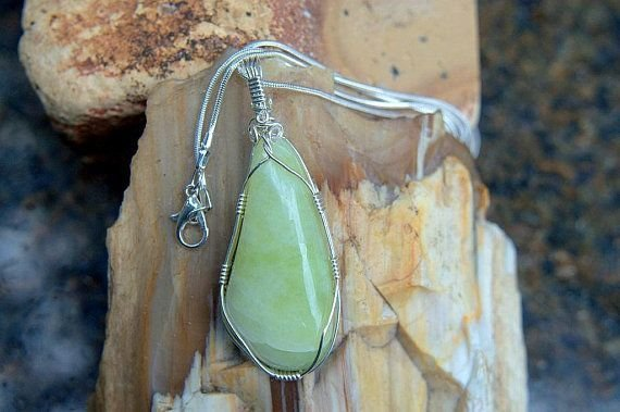 light green silver wrapped gemstone and necklace