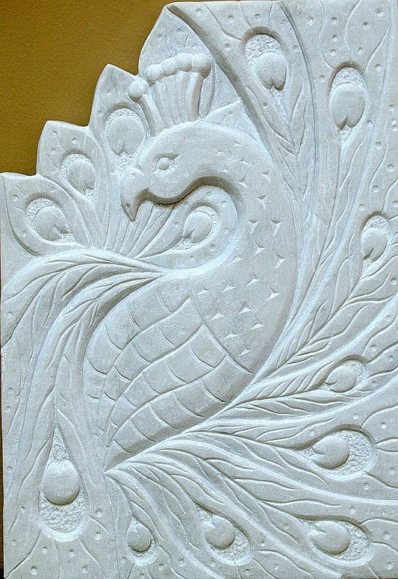 large size white chiseled marble wall panel with peacock carving