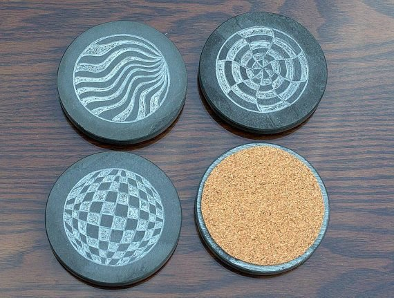 Abstract design stone round shape drink coaster set